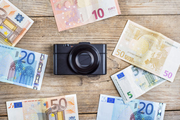 Old camera and money