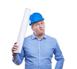 Engineer in blue helmet