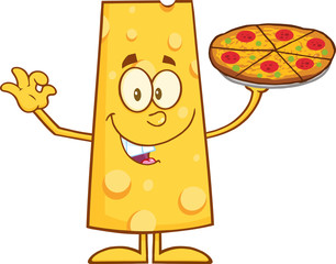 Funny Cheese Cartoon Character Holding A Pizza