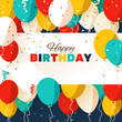 Happy Birthday greeting card in a flat style - 79098083