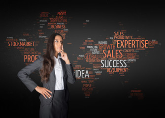 Thoughtful Businesswoman in Front Map Word Cloud