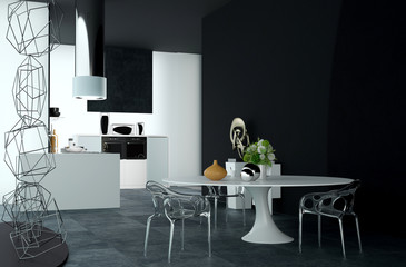 Modern Design of Dining Table at the Kitchen