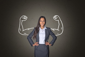 Businesswoman on Gray with Arm Muscles Drawing