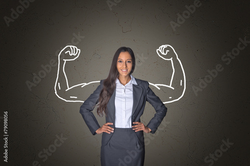 Businesswoman on Gray with Arm Muscles Drawing - 79098056