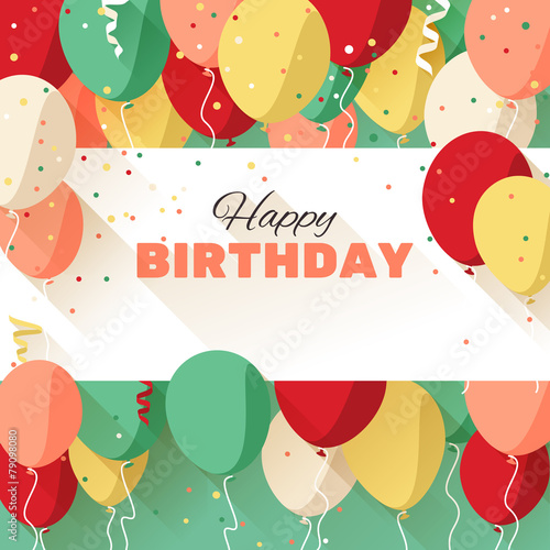 Happy Birthday greeting card in a flat style - 79098080