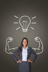 Office Woman on Gray with Muscles and Bulb Drawing