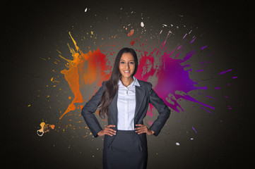 Artistic portrait of a woman with paint splash