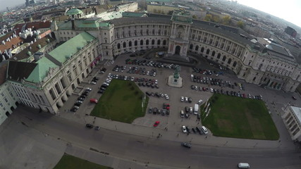 View from above on Hofburg, former imeprial palace in Vienna.