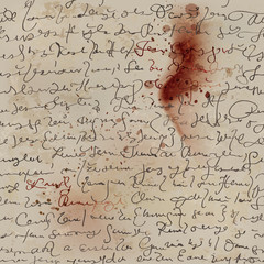 Bloody letter / Sheet of old paper with handwriting