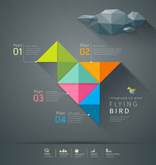 Origami colorful paper flying bird infigraphics design
