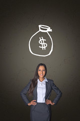 Businesswoman with Money Bag Drawing Above Her