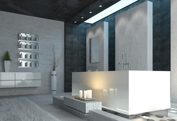 Luxus Badezimmer Interior mit Badewanne und Kerzen
