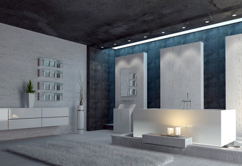 Spacious modern bathroom with glowing candles