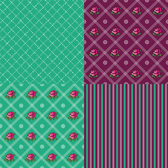 Set of patterns for the background with pink roses