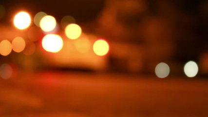 Out of focus city traffic at night