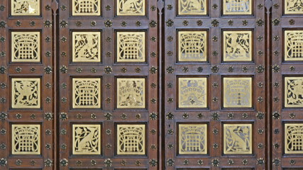 The beautiful ancient look door of the Palace of Westminster