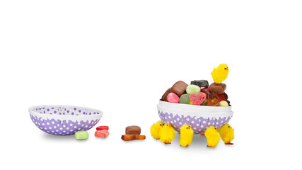 Easter Chicks wearing off on a candy filled Easter egg.
