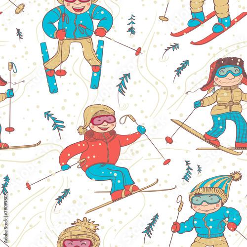 Cotton fabric skiers seamless