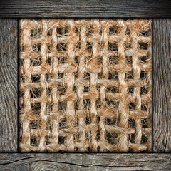 Background of crumpled burlap with wood frame