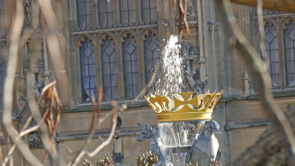 A fountain on a small statue in Big Ben