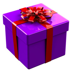 Purplegift box tied red ribbon with a bow