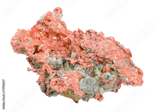 Leinwandbild Motiv Native Copper Over White Background
