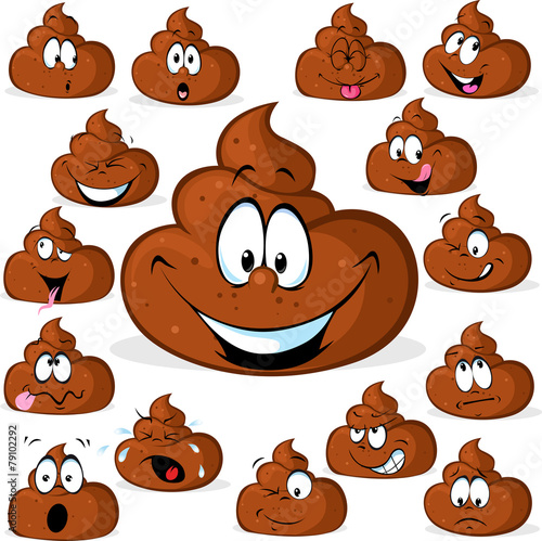 funny poo with many expressions isolated on white background - 79102292
