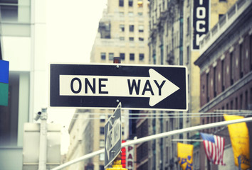 One way sign in New York City