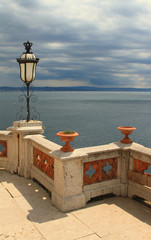 Parapet, decorative lamp. Miramare, Trieste, Italy