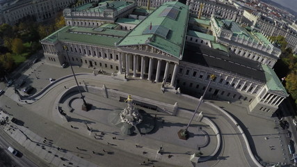 Camera flying above Austrian Parliament in Vienna.
