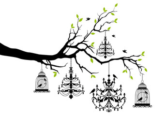 tree with chandelier and birdcage, vector