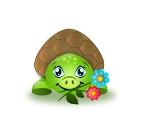Cute turtle eating flowers