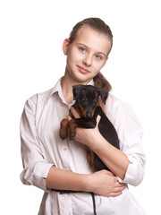 Pretty Girl with Small Dog