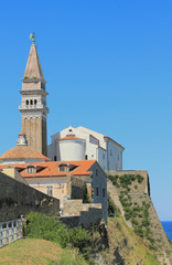 Cathedral on hill. Piran, Slovenia