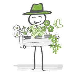 Pflanzzeit, fröhlicher Gärtner
