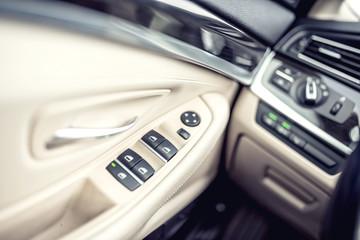 car interior details, door handle with controls and adjustments