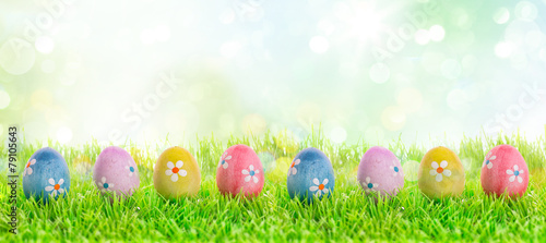 Leinwanddruck Bild colourful easter eggs