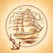 Tall ship emblem - 79105800
