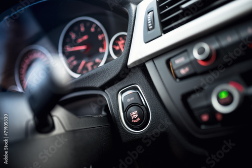 close-up of car start and stop button - 79105830