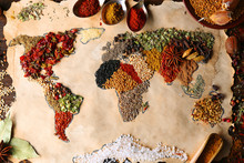 """Постер, картина, фотообои """"Map of world made from different kinds of spices, close-up"""""""