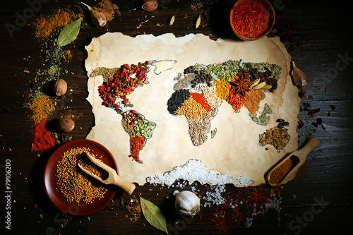 Map of world made from different kinds of spices - 79106200