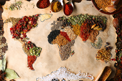 Leinwandbild Motiv Map of world made from different kinds of spices, close-up