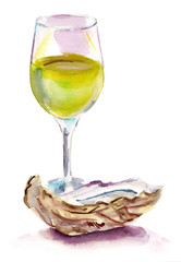Glass of white wine with an oyster on white background