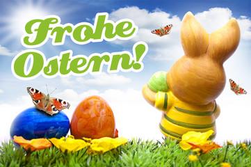 Osterhase mit Ostereiern und Schmetterlingen