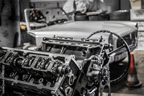Foto op Aluminium Vintage cars oldtimer service station