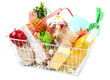 Metal shopping basket with groceries isolated on white - 79107293