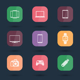 Fototapety Gadgets, white flat icons on rounded squares vector illustration