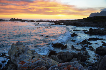 Sunset in idyllic beach of Kleinmond