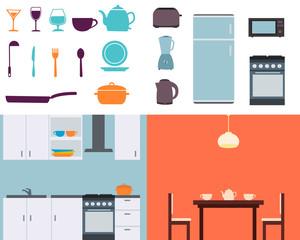 Set kitchen. Equipment and utensils
