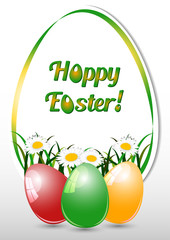 Greeting card for Easter with eggs and spring camomiles